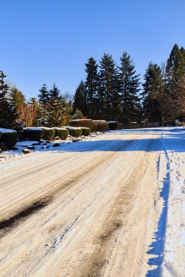 Treacherous Icy Road stock image
