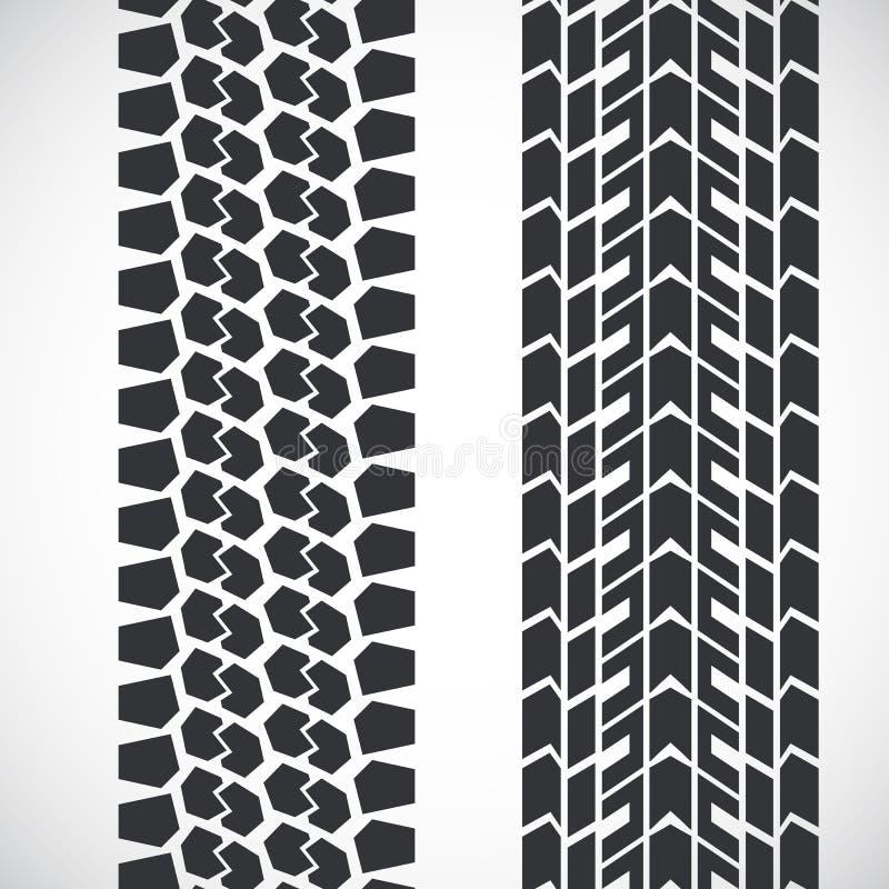 Tread pattern tyre. Vector set of detailed tire prints stock illustration