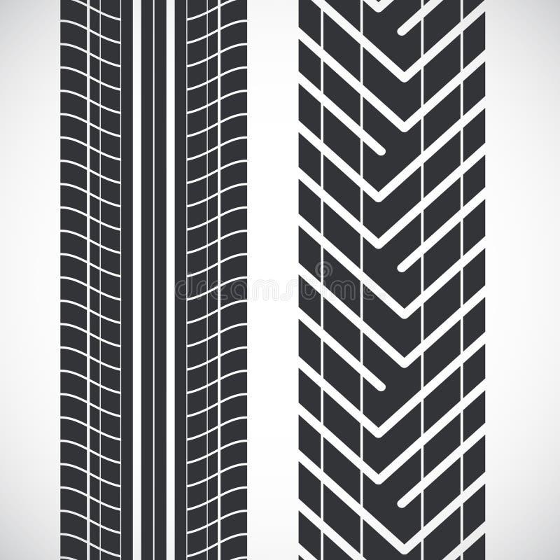 Tread pattern tyre. Vector set of detailed tire prints vector illustration