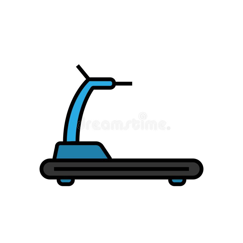 Treadmill εξοπλισμός ικανότητας εικονιδίων για το καρδιο σύμβολο άσκησης απλός γραφικός ελεύθερη απεικόνιση δικαιώματος