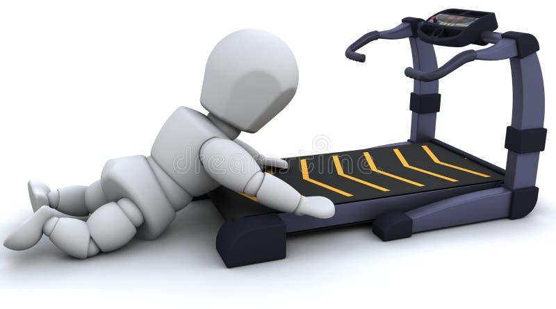 Treadmill. 3D render of a man on a treadmill vector illustration