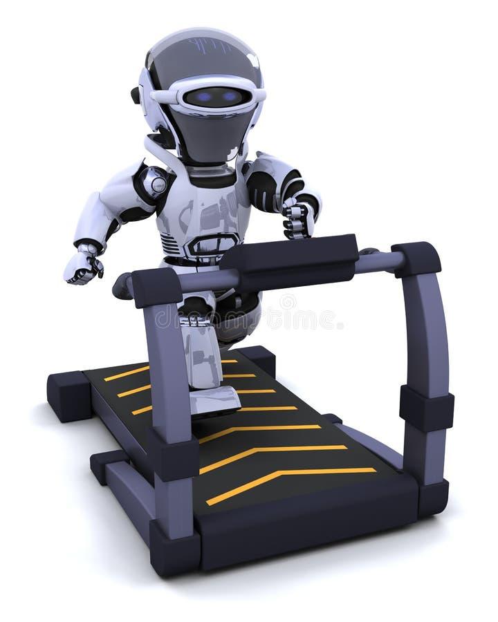 Treadmill. 3D render of a robot on a treadmill stock illustration