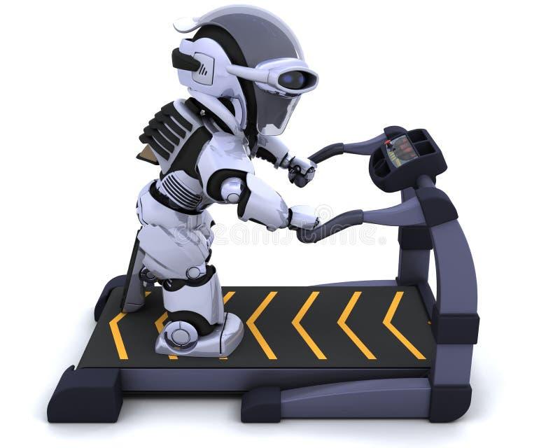Treadmill. 3D render of a robot on a treadmill royalty free illustration