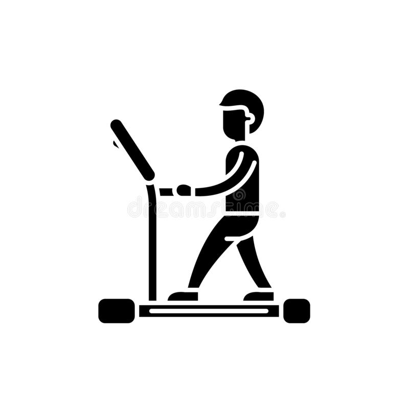 Treadmill black icon, vector sign on isolated background. Treadmill concept symbol, illustration stock illustration