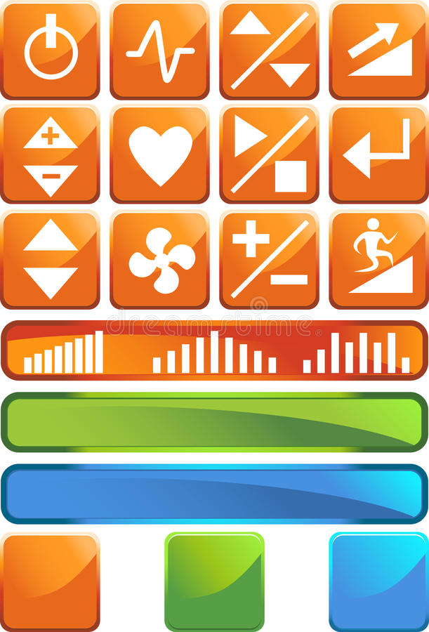 Download Treadmill Buttons: Shiny Square Set Stock Vector - Illustration: 9478961