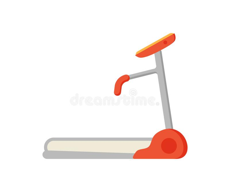 Treadmill Electric Device Icon Vector Illustration. Treadmill electric device isolated icon vector. Mechanical device for walking and running on track. Sport stock illustration
