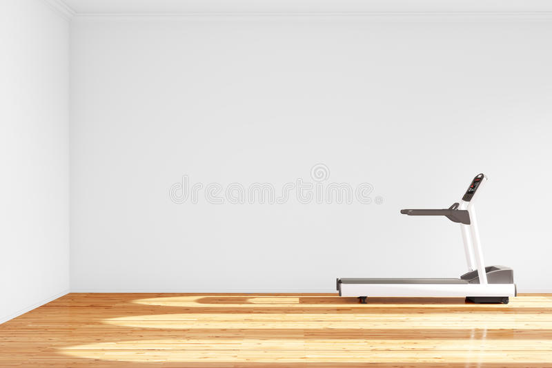 Treadmill in empty room. With hardwood floor stock illustration