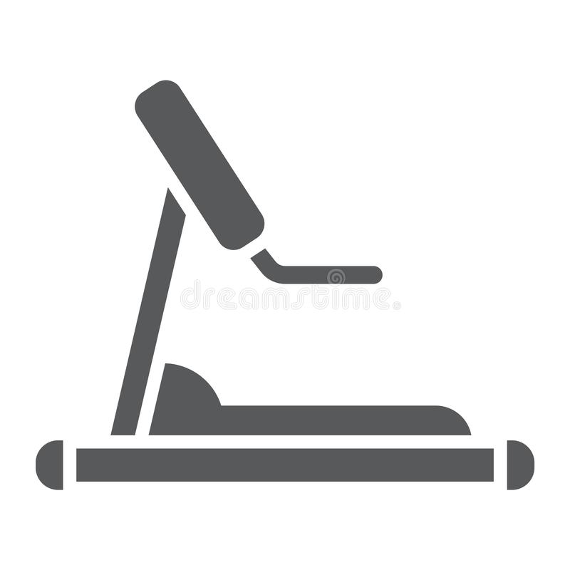 Treadmill glyph icon, sport and workout, equipment sign, vector graphics, a solid pattern on a white background. Treadmill glyph icon, sport and workout royalty free illustration