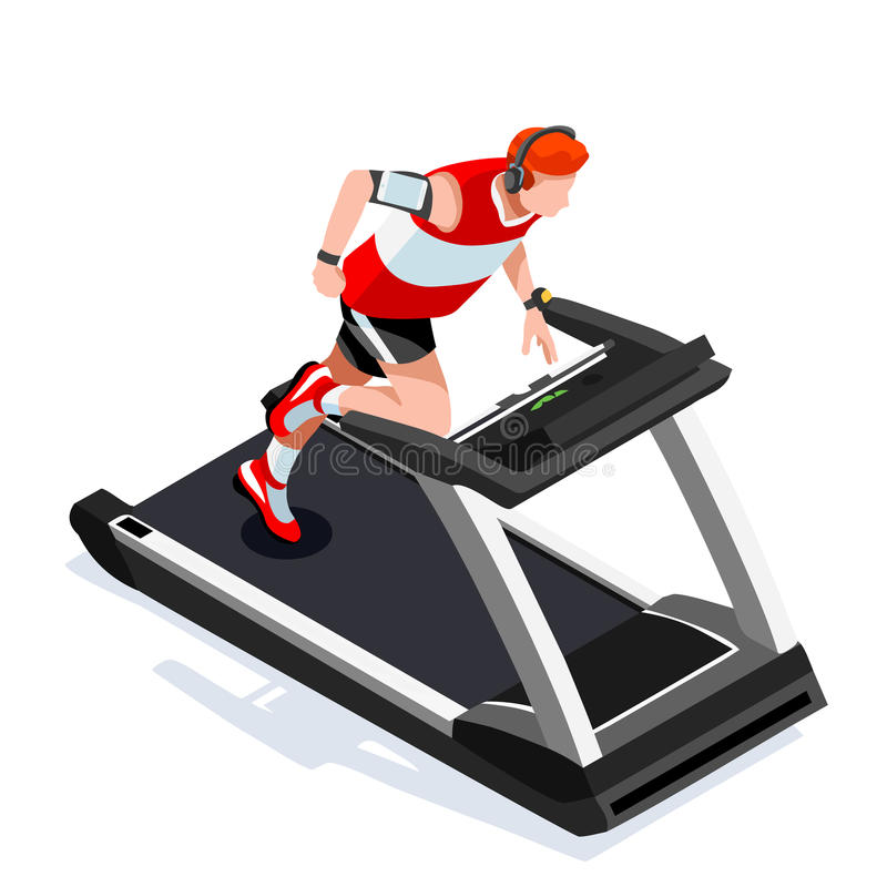 Treadmill Gym Class Working Out. Gym Equipment Treadmill Running Athlete Runners Working Out Gym Class. 3D Flat Isometric Marathon. Runners athlete training stock illustration
