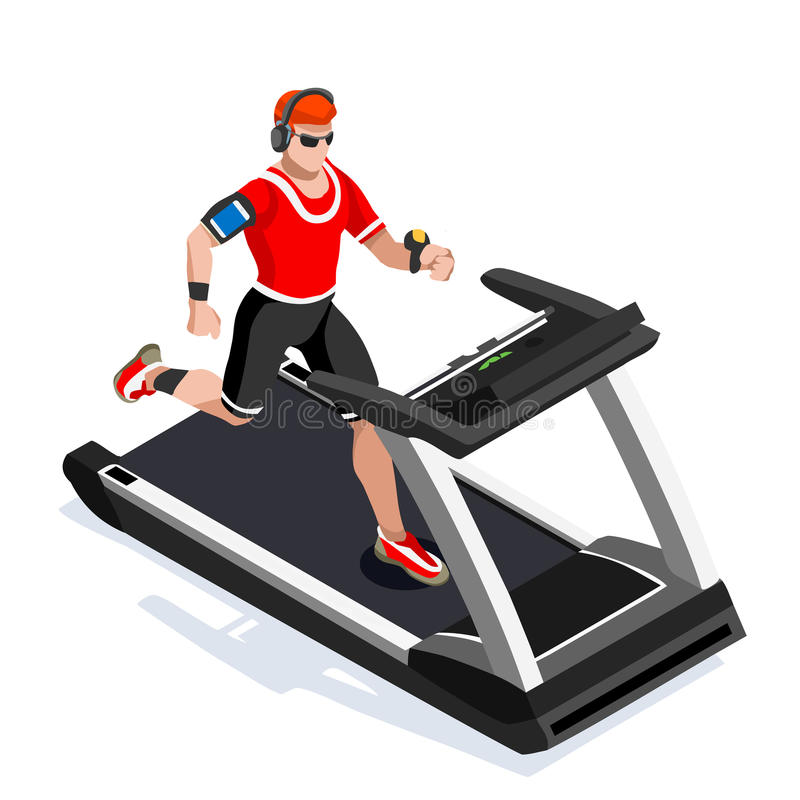 Treadmill Gym Class Working Out. Gym Equipment Treadmill Running Athlete Runners Working Out Gym Class. 3D Flat Isometric Marathon. Runners athlete training royalty free illustration