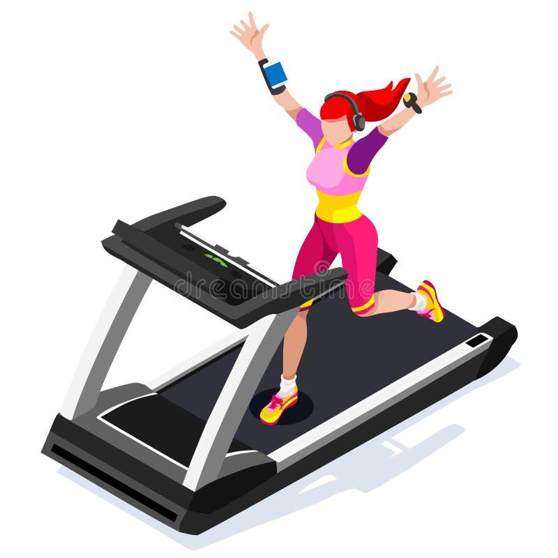 Treadmill Gym Class Working Out. Gym Equipment Treadmill Running Athlete Runners Working Out Gym Class. 3D Flat Isometric Marathon stock illustration