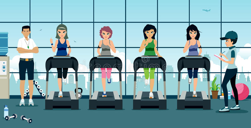 Treadmill in gym. Woman running on Treadmill in the gym with trainer royalty free illustration