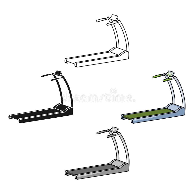 Treadmill icon in cartoon style isolated on white background. Sport and fitness symbol stock vector illustration. Treadmill icon in cartoon style isolated on stock illustration