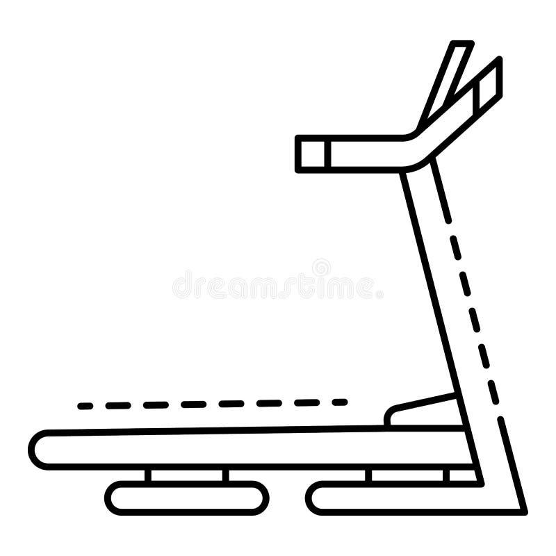 Treadmill icon, outline style stock illustration