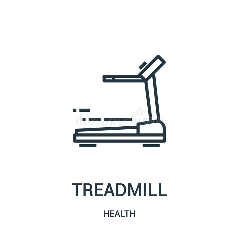 treadmill icon vector from health collection. Thin line treadmill outline icon vector illustration. Linear symbol for use on web vector illustration