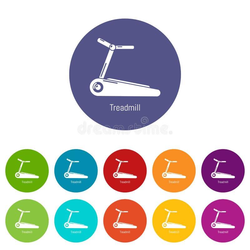 Treadmill icons set vector color vector illustration