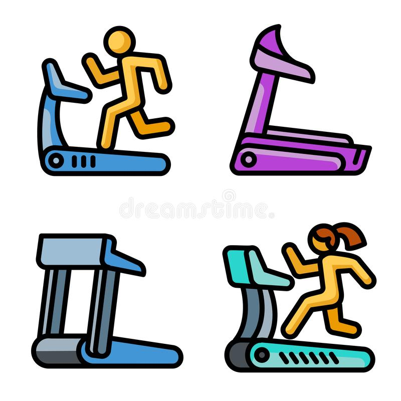 Treadmill icons set, outline style stock illustration