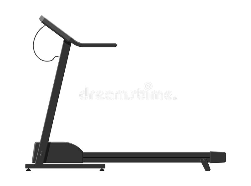 Treadmill isolated on white. Running sport simulator. Gym workout equipment, Fitness, healthy and sport lifestyle. Strength and bodybuilding training. Vector royalty free illustration