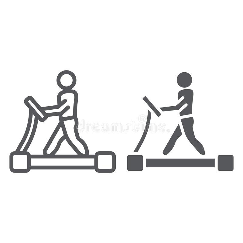 Treadmill line and glyph icon, fitness and exercise, runner sign, vector graphics, a linear pattern on a white. Background, eps 10 royalty free illustration