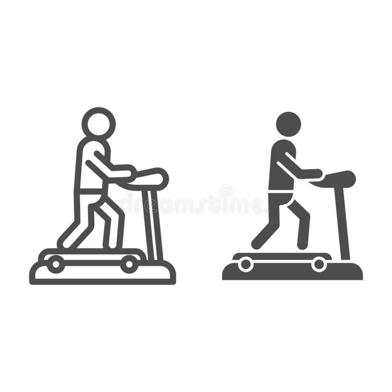 Treadmill line and glyph icon. Training man vector illustration isolated on white. Running track outline style design vector illustration