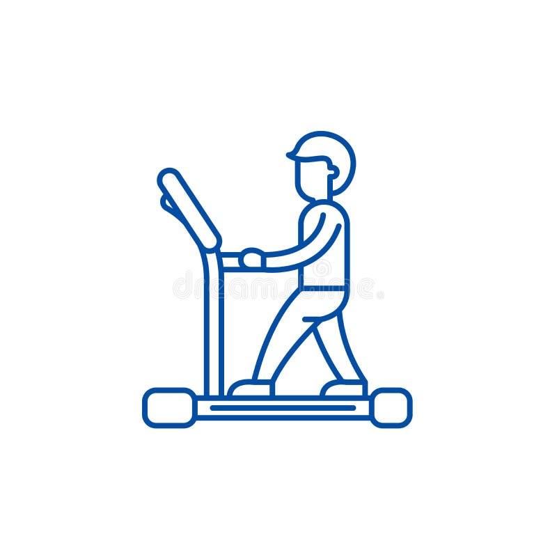 Treadmill line icon concept. Treadmill flat  vector symbol, sign, outline illustration. Treadmill line concept icon. Treadmill flat  vector website sign royalty free illustration