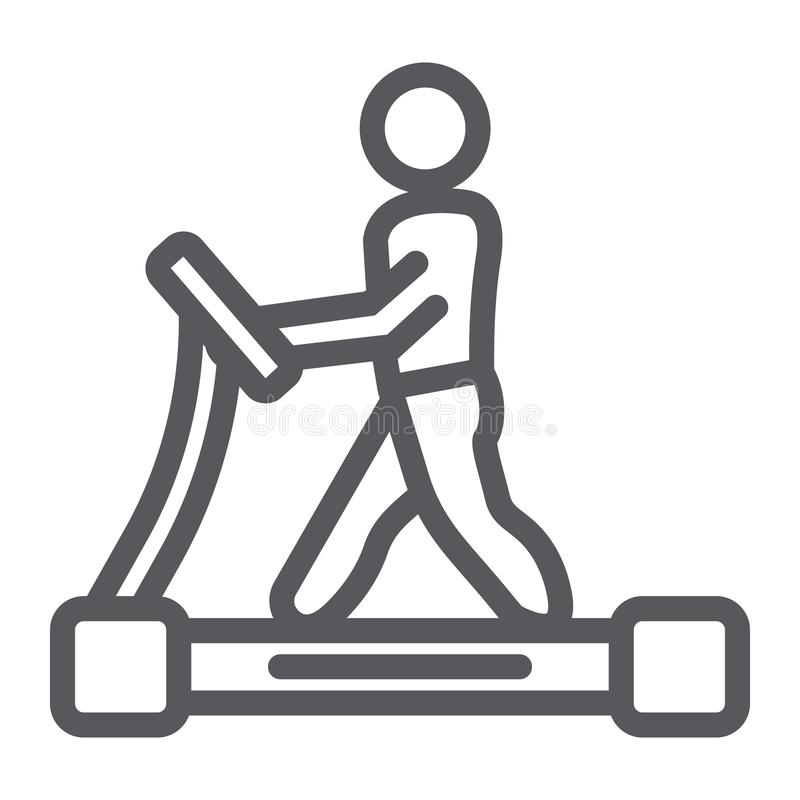 Treadmill line icon, fitness and exercise, runner sign, vector graphics, a linear pattern on a white background. Treadmill line icon, fitness and exercise vector illustration