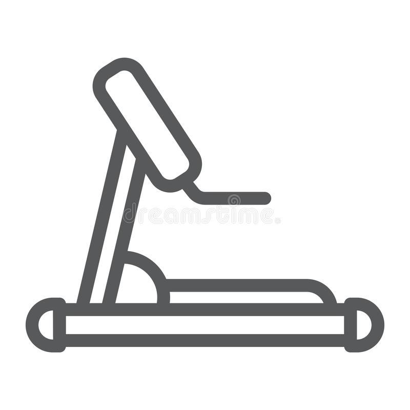 Treadmill line icon, sport and workout, equipment sign, vector graphics, a linear pattern on a white background. Treadmill line icon, sport and workout stock illustration