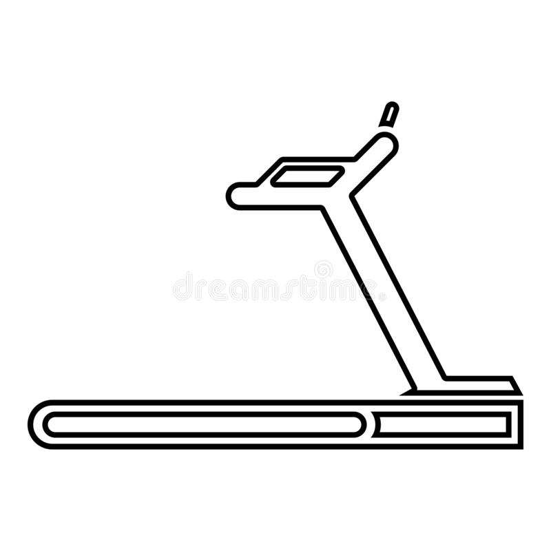 Treadmill machine icon black color illustration outline vector illustration