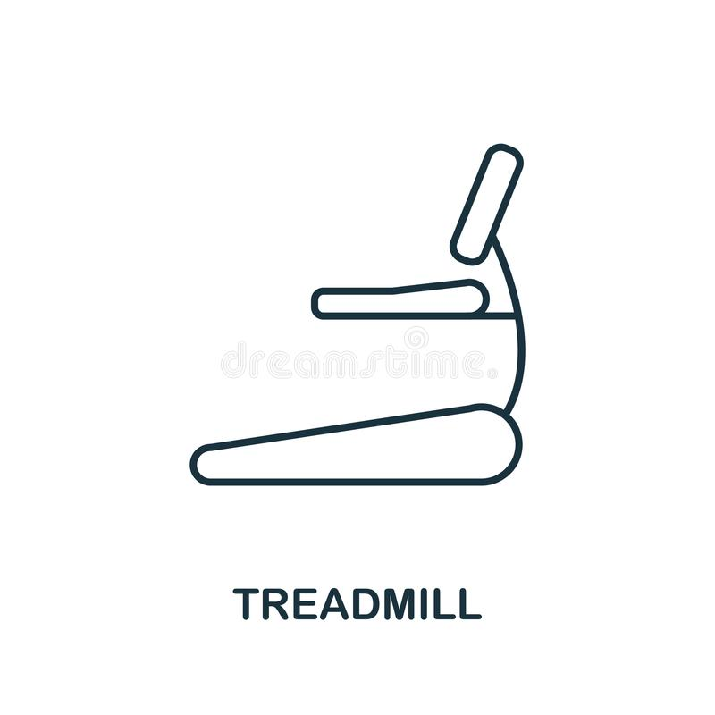 Treadmill outline icon. Simple element illustration. Treadmill icon in outline style design from sport equipment collection. Perfe royalty free illustration