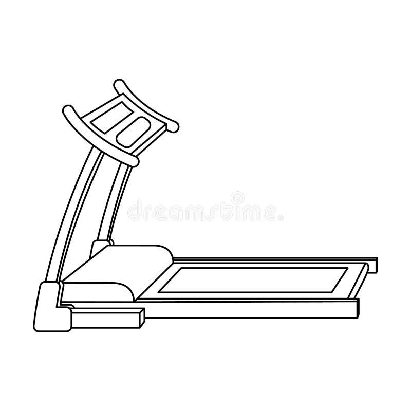 treadmill Rinnande simulator för utbildning i idrottshallen Enkel symbol för idrottshall och för genomkörare i materiel för symbo vektor illustrationer