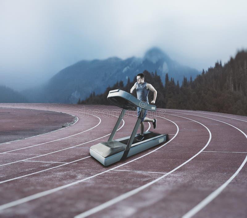 Treadmill on running track royalty free stock image