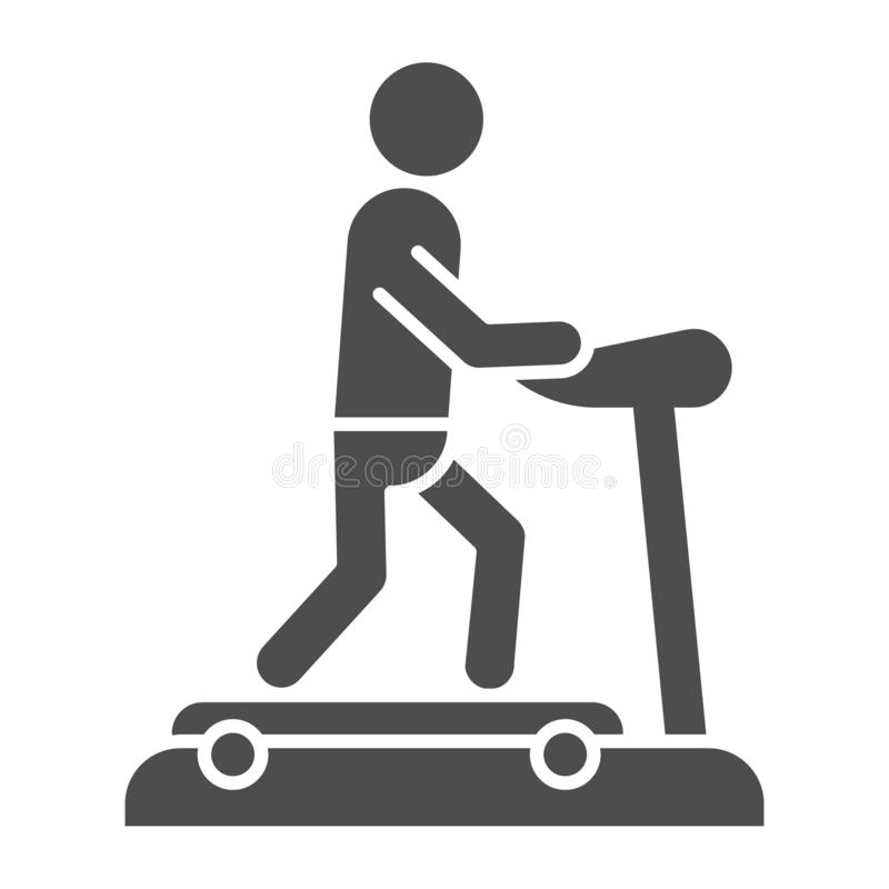 Treadmill solid icon. Training man vector illustration isolated on white. Running track glyph style design, designed for. Web and app. Eps 10 vector illustration