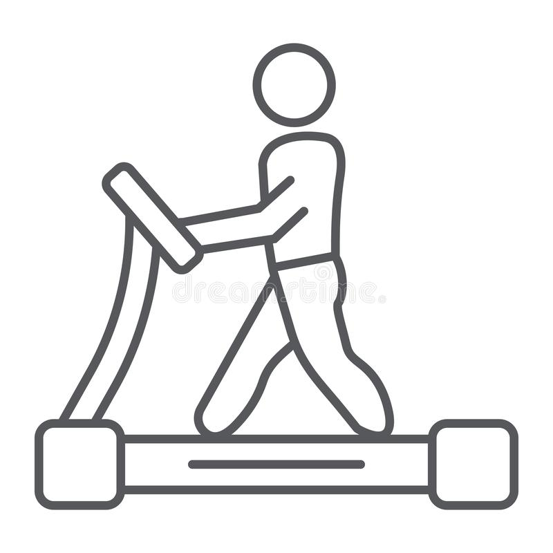 Treadmill thin line icon, fitness and exercise, runner sign, vector graphics, a linear pattern on a white background. Treadmill thin line icon, fitness and royalty free illustration