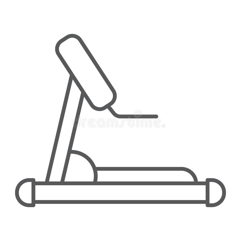 Treadmill thin line icon, sport and workout, equipment sign, vector graphics, a linear pattern on a white background. Treadmill thin line icon, sport and royalty free illustration