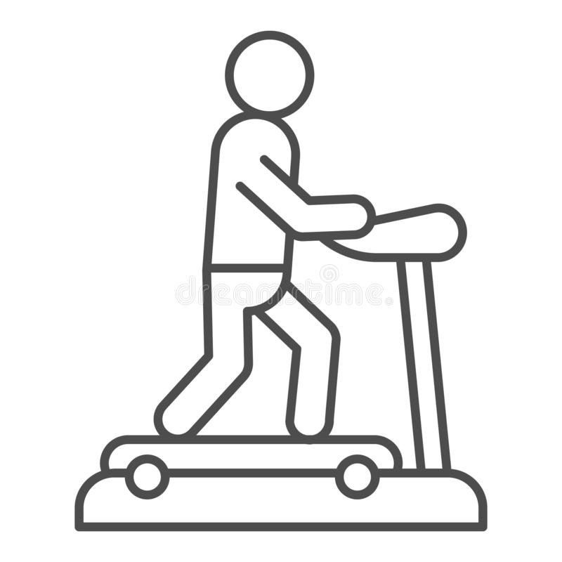 Treadmill thin line icon. Training man vector illustration isolated on white. Running track outline style design. Designed for web and app. Eps 10 stock illustration