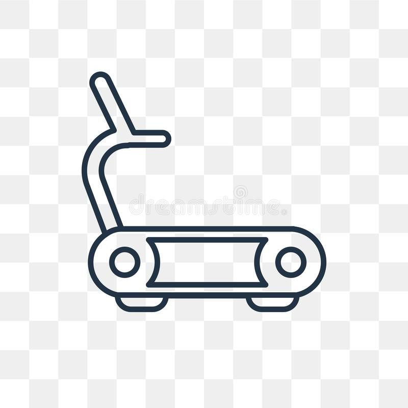 Treadmill vector icon isolated on transparent background, linear stock illustration