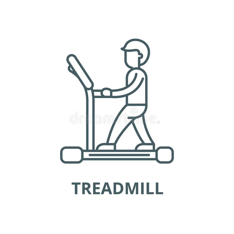 Treadmill vector line icon, linear concept, outline sign, symbol. Treadmill vector line icon, outline concept, linear sign stock illustration