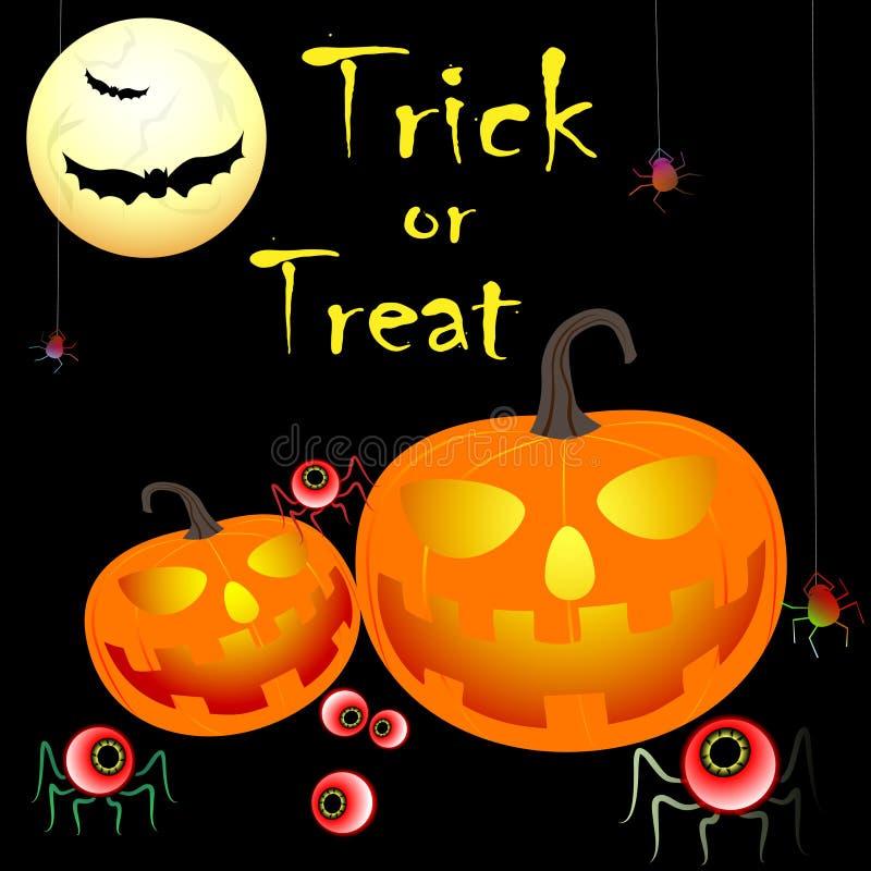 Treak ou deleite de Dia das Bruxas com abóboras, bastões, aranhas, texto ilustração do vetor
