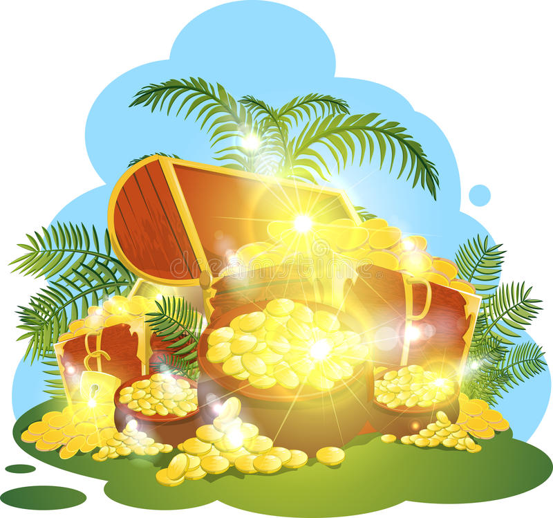 Treasure. Big chests with treasures and gold small groups vector illustration