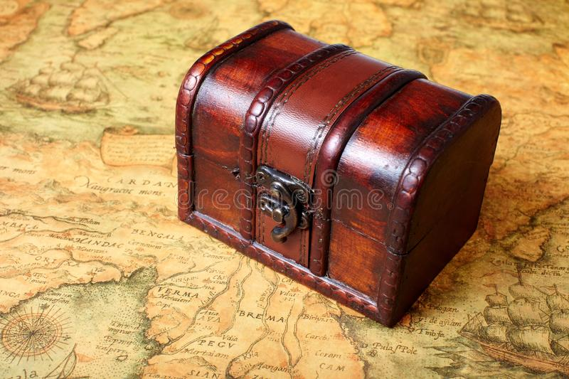 Treasure Box On Ancient Map Background Stock Image Image Of Design - Antique map box