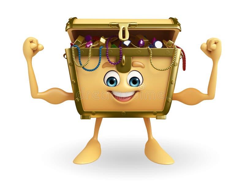 Treasure Box Character With Bodybuilding Stock Illustration