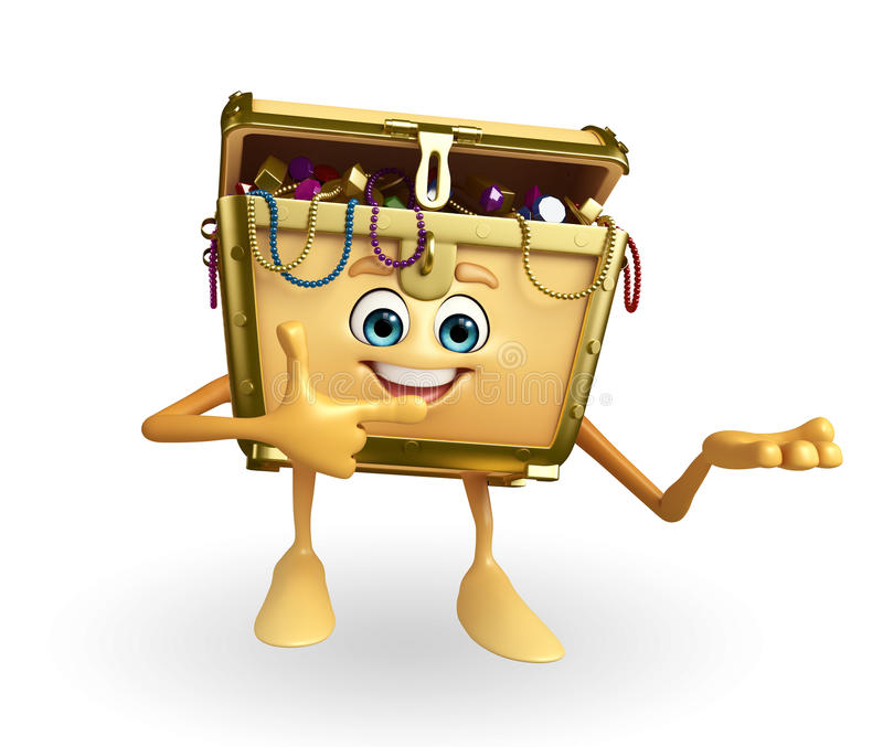 Treasure Box Character With Pointing Stock Illustration