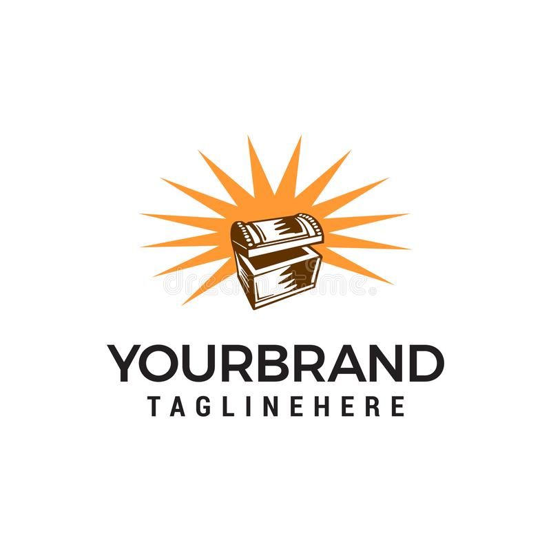 Treasure box logo design concept template. Vector royalty free illustration