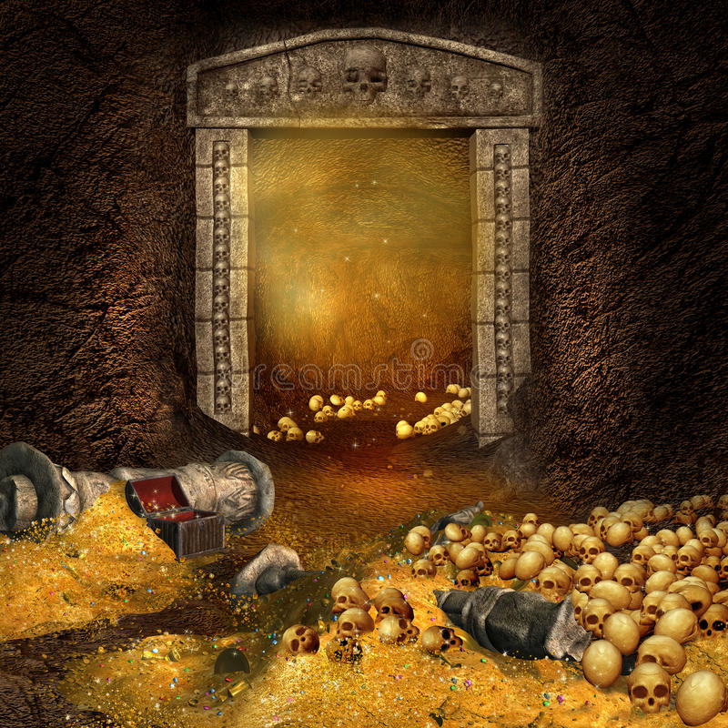 Treasure cave. Fantasy mountain cave with a treasure and skulls royalty free illustration