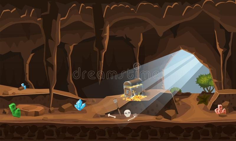 Treasure cave with chest gold coins, gems. Concept, art for computer game. Background image to use games, apps, banners. Treasure cave with chest gold coins vector illustration