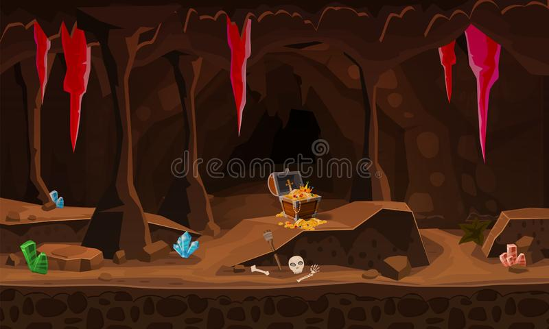 Treasure Cave With Chest Gold Coins, Gems  Concept, Art For
