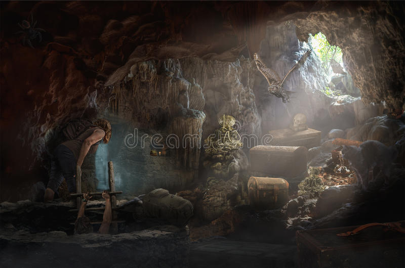 Treasure cave. Explorers in a fabulous cave with treasures vector illustration