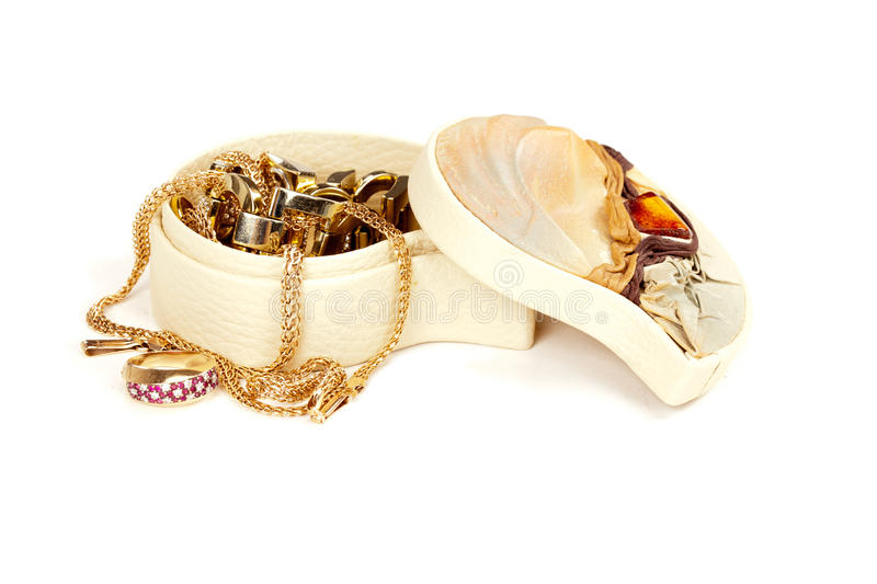 Treasure chest. Jewellery box isolated on white stock images