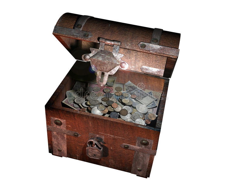 Treasure chest. A chest with currencies of different countries in the World