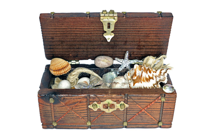 Treasure chest. With shells and marine trinkets royalty free stock photos